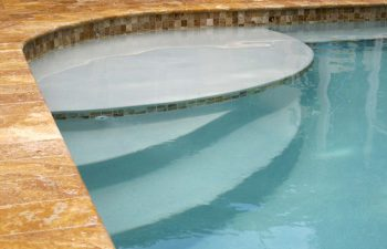 swimming pool entry steps after renovation