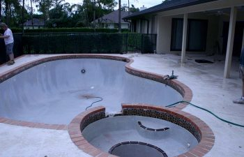 backyard swimming pool and jacuzzi under renovation work