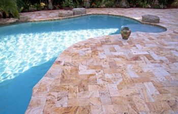 Travertine stone pool deck