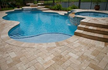 backyard spa pools with interlocking brick decking