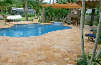 backyard spa pools with artistic pavers decking