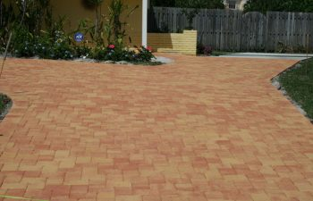 artistic pavers in the backyard