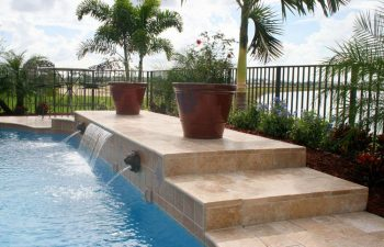 backyard swimming pool with water features