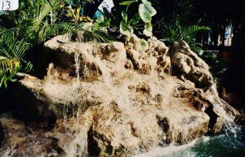 a hardscape waterfall