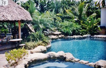 backyard swimming pool with a hardscape waterfall and a tiki hut on a pool patio