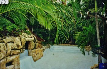 backyard swimming pool with a hardscape waterfall under construction