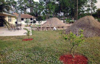 backyard swimming pool under construction - excavation
