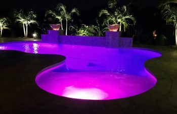 night view of a backyard swimming pool with a purple lighting