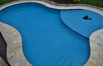 backyard swimming pool with paver deck and security fencing
