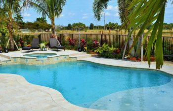 backyard beach entry pool with paver patio