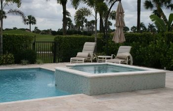 backyard swimming pool with light blue water color and paver deck