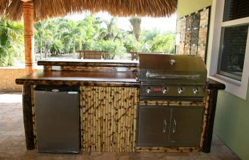 patio with tiki roof and outdoor kitchen