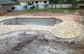 backyard swimming pool under construction -final stage